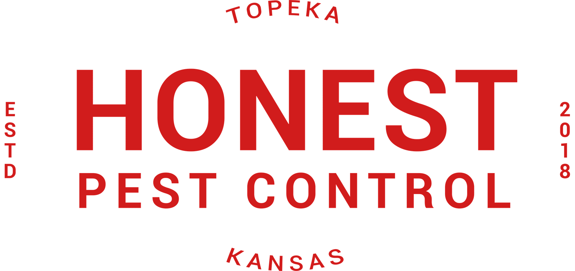 A logo for Honest Pest Control in Topeka, KS.